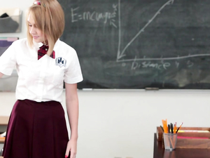Schoolgirl On His Desk Takes A Teacher Creampie