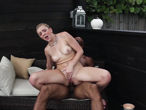 Stylish Blonde Teen Strips For Interracial Fucking