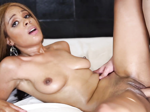 Skinny Teen Black Girl Sucking And Sitting On White Cock