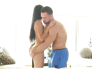 Hot Body Is Slick With Oil As He Fucks Her Hardcore