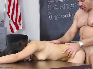 Latina Teen On The Teachers Desk For Hot Fucking