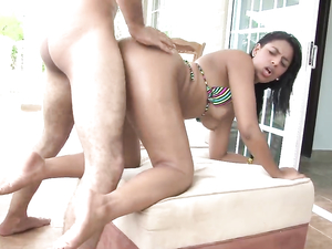 Poolside Sucking And Fucking With A Latina Bikini Babe