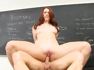 Slutty Redheaded Schoolgirl Makes Her Teacher Cum