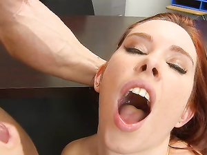 Slutty Redheaded Schoolgirl Makes Her Teacher Cum