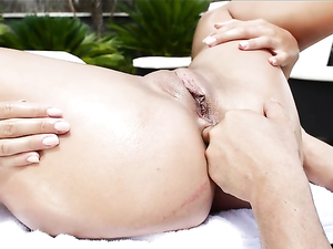 Poolside Ass Fucking For An Oiled Up Beauty