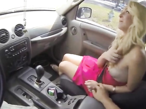 Getting A Car Blowjob From A Bleach Blonde Girl